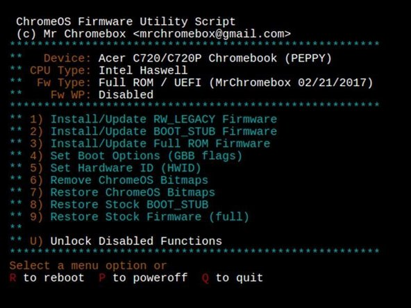 Mr. Chromebox is a developer who is saving us all a lot of time typing in commands with an all-in-one script. Go to the page for his Chrome OS firmware script and type out the command on that page (starting with cd; curl ...