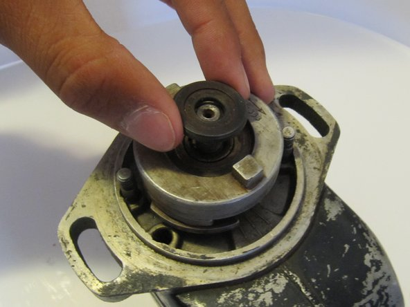 Remove the lock washer underneath the nut.