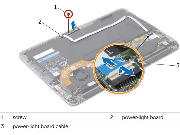 Remove the screw that secures the power-light board to the palm-rest assembly.