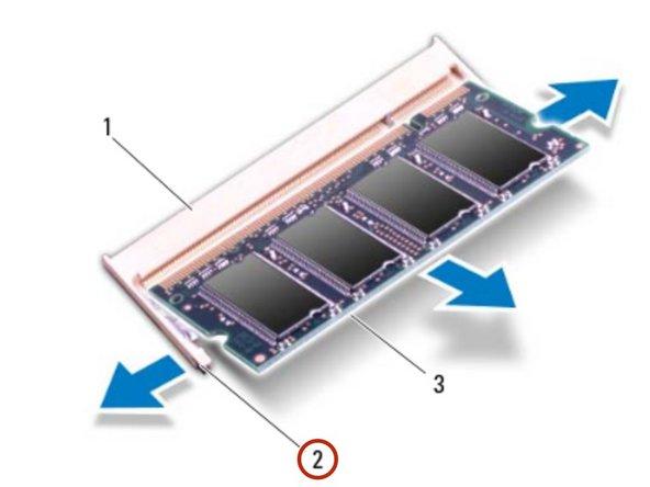 PRECAUCIÓN: Para evitar daños en el conector del módulo de memoria, no use herramientas para extender los clips de fijación del módulo de memoria.
