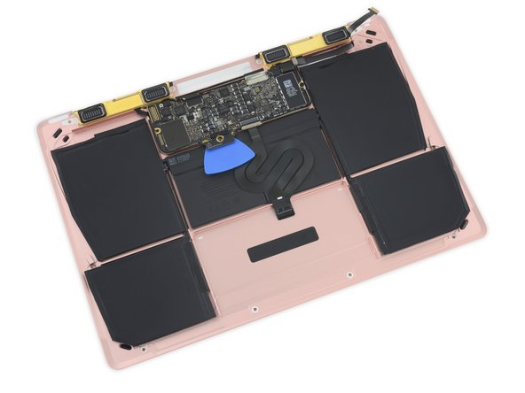 The battery's form factor seems 100% identical to the multi-lobed cell we found in the 2015 Macbook.