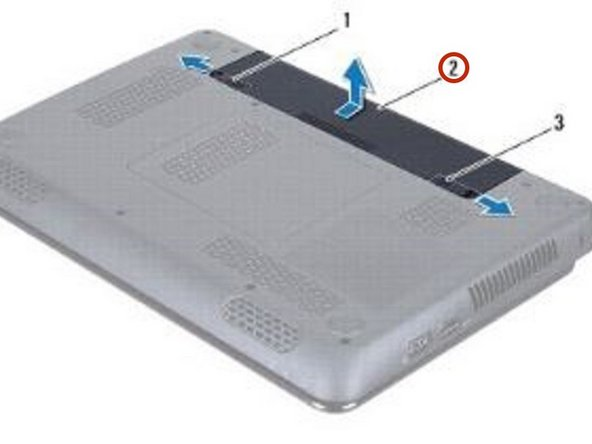 Slide the NEW battery into the battery bay, until it clicks into place.