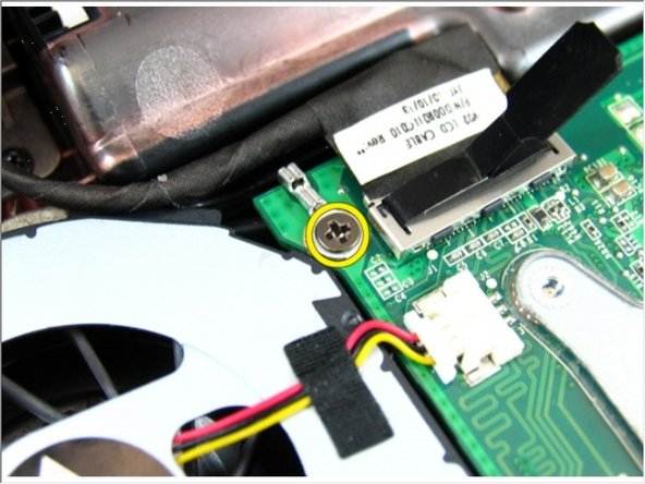 Loosen the screw that secures the low-voltage differential signaling (LVDS) cable.