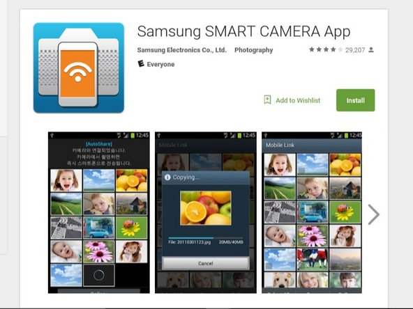 To begin you must have the Samsung Smart Camera App on your phone. You can install this for free from the App Store.