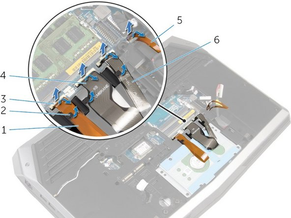 Carefully lift the white latches (like #3) and remove all 4 of the keyboard and macro-key cables from their sockets.