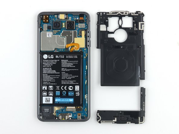 The battery isn't immediately disconnectable; the midframe components must first be removed.