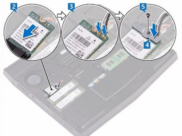 Replace the screw (M2x3) that secures the wireless-card bracket to the wireless card and the computer base.