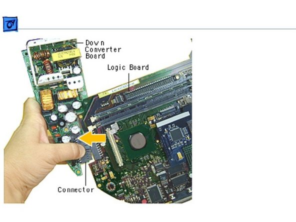 Holding onto the downconverter, press down on the black connector to separate the downconverter board from the logic board.