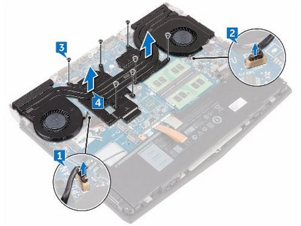 Disconnect the right-fan cable from the system board.