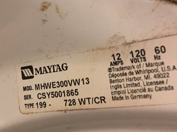Identify your washer type.  The Power / Cancel button may differ with different models.  This was my model tag.