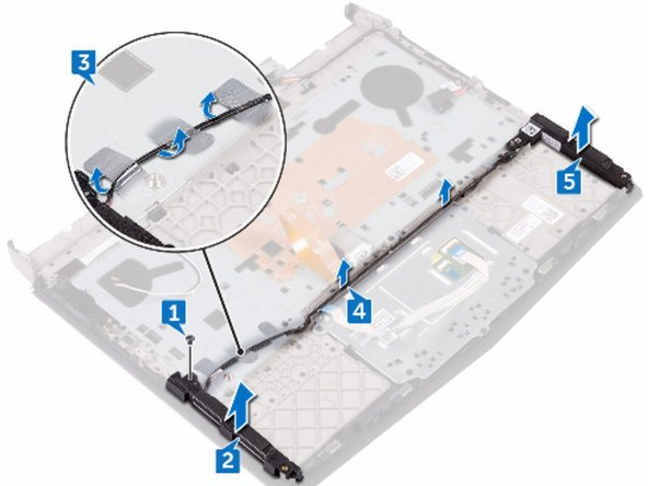 Replace the screw (M2x3) that secures the speaker to the palm-rest assembly.