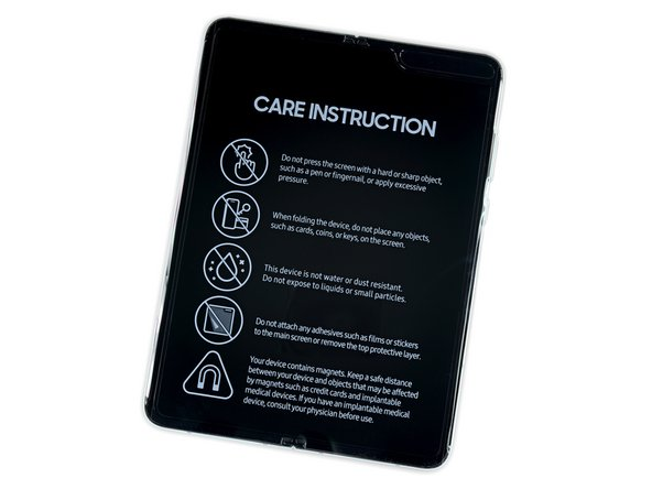 New for this release: detailed care instructions, including warnings against touching the touchscreen too hard, and exposing the phone to dust.