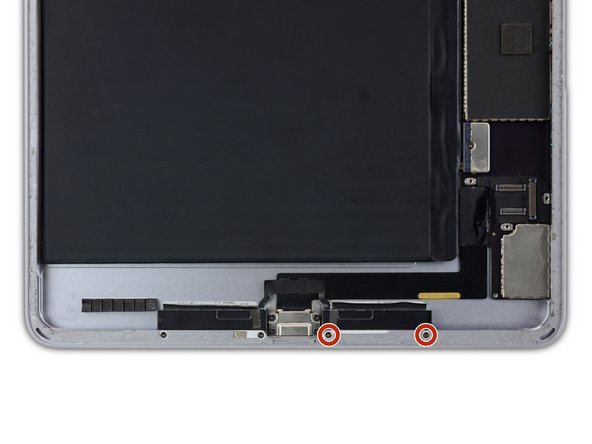 Remove the two 1.5 mm Phillips #00 screws to the right of the Lightning port.