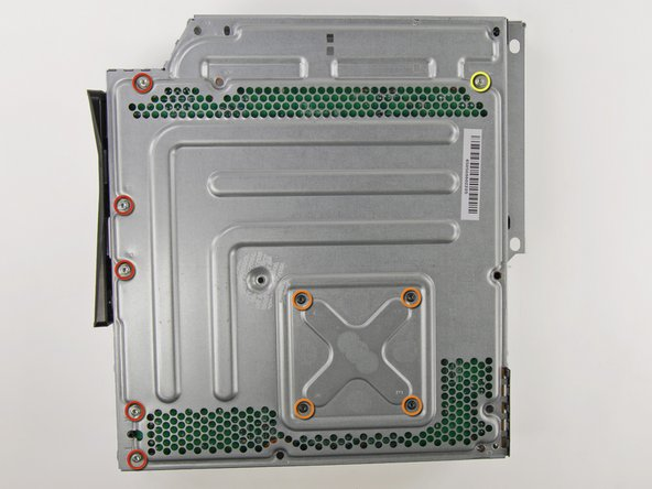 There are a total of 10 screws holding the logic board assembly to the metal case: