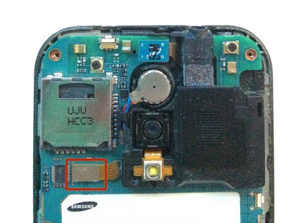 Using your spudger/plastic pry tool, disconnect the rear speaker flex cable.