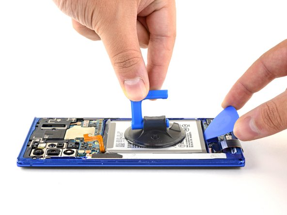Apply a suction cup to the back of the battery.