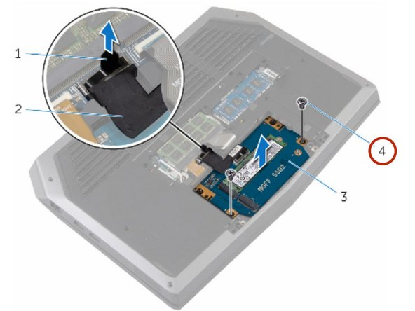 Remove the screws that secure the solid-state drive assembly to the  computer base.