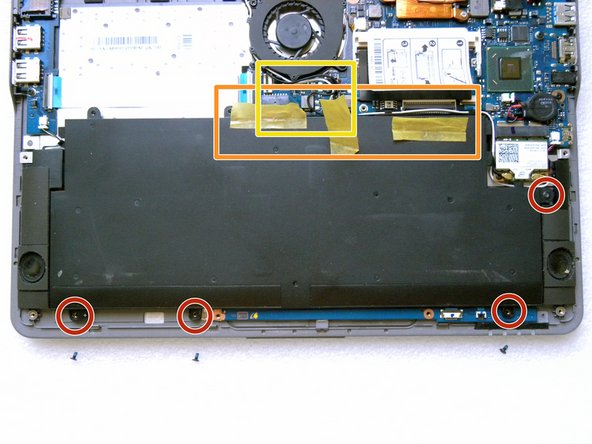 Remove the 4 screws to detach the battery.