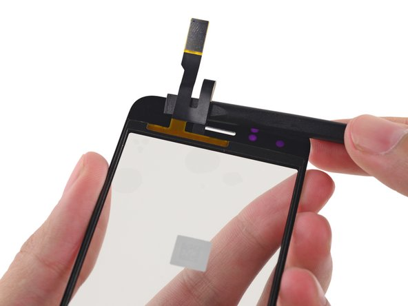 Fold the front panel cables down toward the home button recess to get them out of the way.
