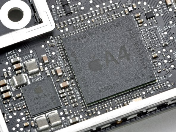 The key marking of interest on the A4 processor package is K4X2G643GE. This is identical to the marking found on the iPad and 4th Generation iPod Touch, but different from the iPhone 4 processor.
