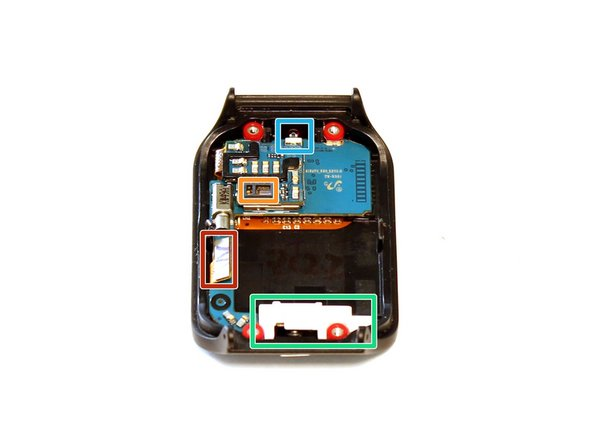 Once separated, the front half of the device is easily distinguished from the back by the blue mainboard. Take a moment to familiarize yourself with the important components presented in this half of the device before continuing.