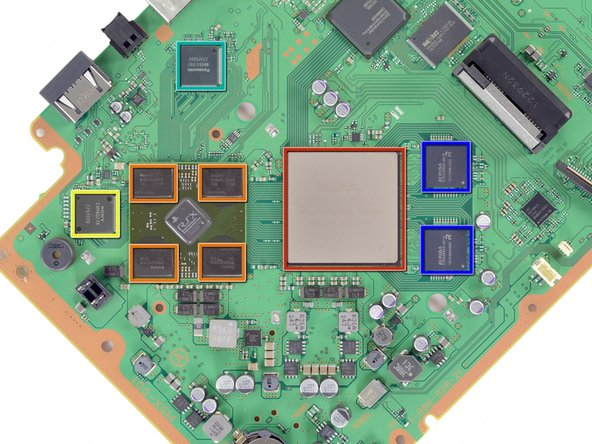 Turning the motherboard 45 degrees gives us a look at some of the major players behind the PlayStation 3 Super Slim's processing power: