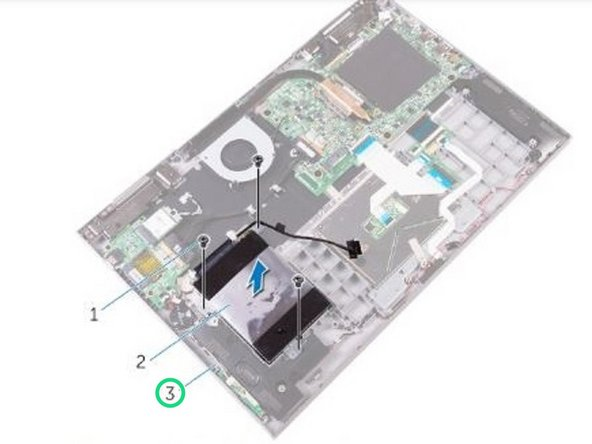 Route the hard-drive cable through the routing guides on the palm rest and keyboard assembly.