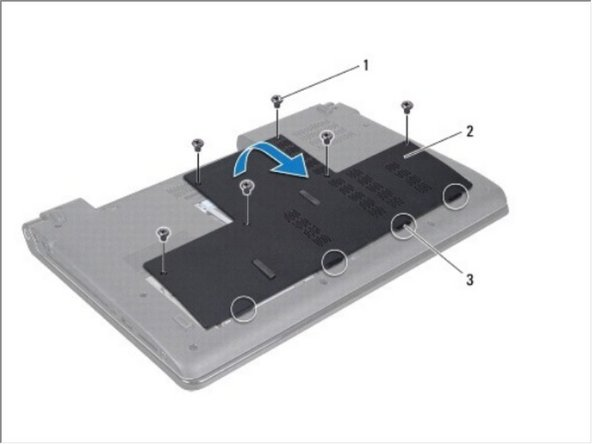 Retire los seis tornillos que aseguran la cubierta de la base a la base de la computadora.