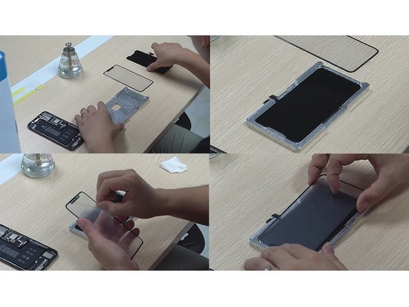 For this part, we prepare iPhone11 Pro Max's specialized locating mold in advance. Then place the LCD flat into the mold so it's not easy to shift and clean up the dust on the LCD. Here we have to pay attention to the flex cables position.