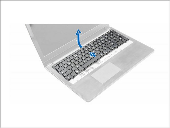 Slide and lift the keyboard to access the keyboard connector cable under the keyboard [1,2].