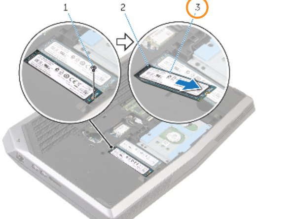 Slide and remove the solid-state drive from the solid-state drive slot.
