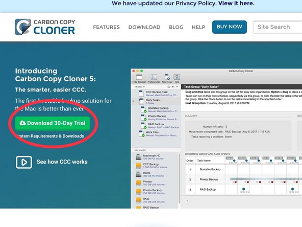 Download Carbon Copy Cloner from the Bombich Software Website.
