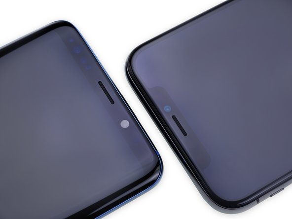 Admirably, in a sea of iPhone imitators, Samsung stays notchless, and manages some pretty teeny bezels.