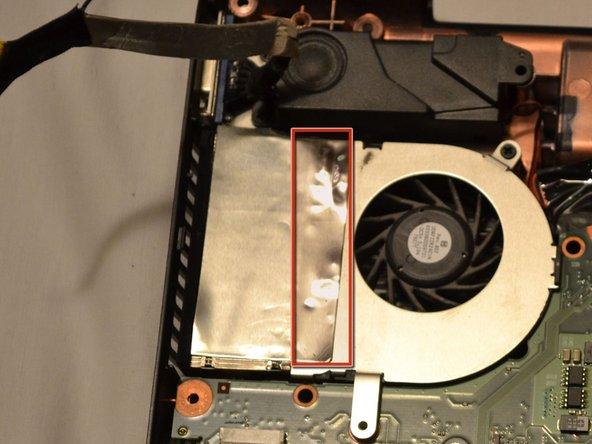 Peel back the metallic tape from the fan