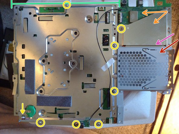 Unscrew the M screws and unplug the board battery. Your PS3 now does not know the date and time.