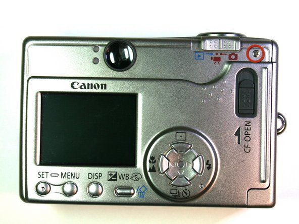 Remove the 3.8mm screw from the back face of the camera.