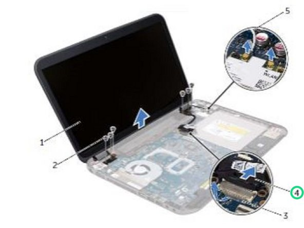 Make a note of the display cable routing and remove the cable from the routing guides.