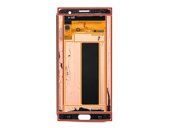 The display assembly edges are secured by strips of very strong foam adhesive.