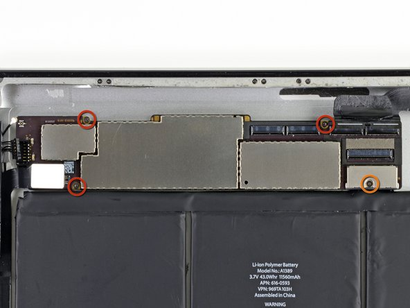 Remove the following four screws securing the logic board to the rear aluminum panel: