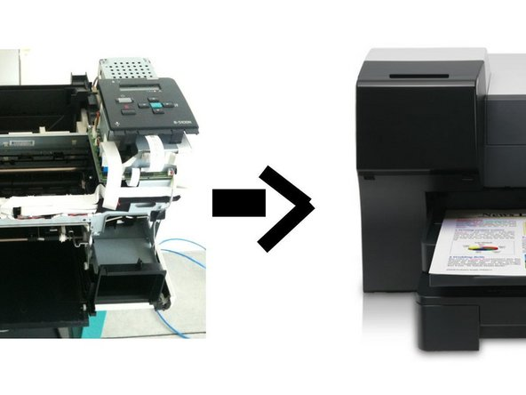 Reassemble the printer (remove the tape first if you have used it) following these instructions in reverse.