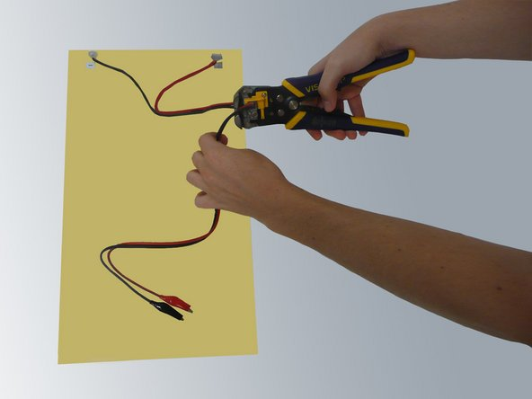 If the solar panel comes with some form of attachment, the attachment to the  wires will need to be cut off leaving 10-12 inches of wire still attached.