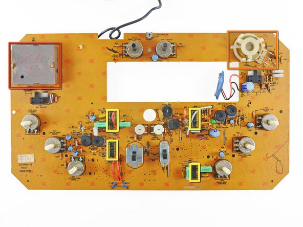 The board is interesting in that it is has a single layer of conductive traces connecting all the components. Contrast this to modern circuit boards, which can sometimes have eight [!] PCB layers.