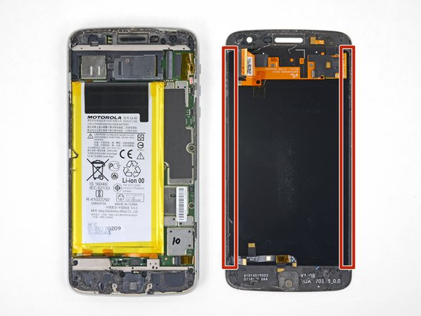 In the following steps, you will separate the display assembly from the Moto Z Play's chassis.