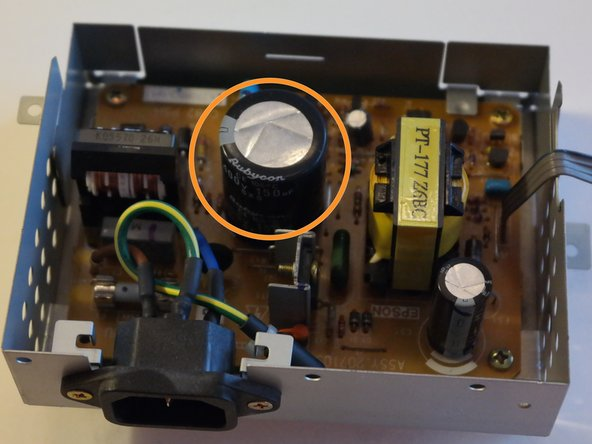 The inside of the power supply.