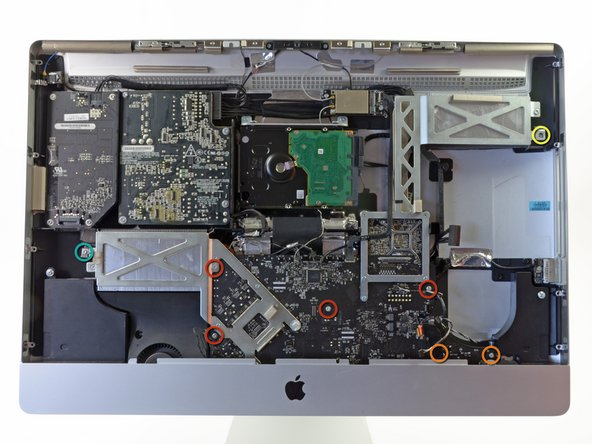 Remove the following eight T10 Torx screws securing the logic board to the iMac: