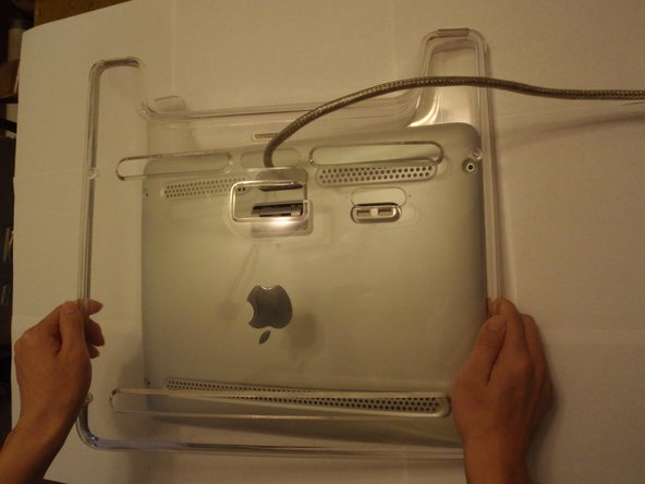 Pull the clear back panel cover off.