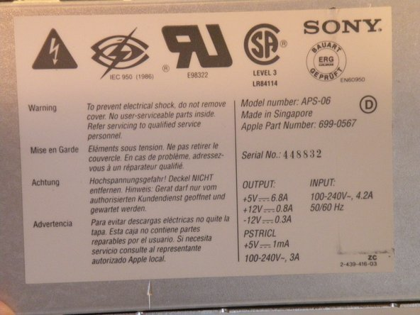 Information on the power supply: