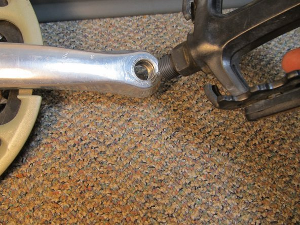 Turn the wrench continuously until the pedal detaches from the crank arm.