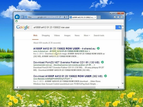 - Google for this pack in the internet, download and unpack it (Inside you have everything for flashing your Tablet like Flash Tool, loaders, ROM and etc.)         A1000F_A412_01_23_130822_ROW_USER.rar