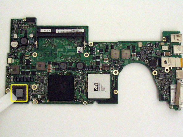 Important: when you reinstall a logic board, you'll need to replace the thermal paste that goes between the processor on the logic board and the heat sink. Failure to remove the old paste and apply a new layer can cause the computer to overheat and sustain damage. The following steps refer to replacing the thermal paste between the processor and heat sink; follow these steps only when you are ready to place the logic board in the computer.